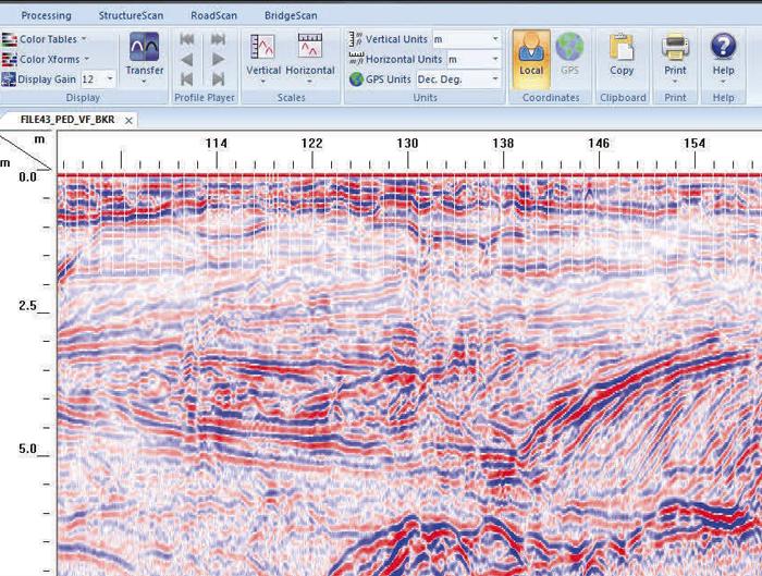 Radan logiciel de traitement des données radar de GSSI.